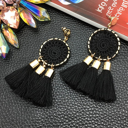 Nets Weaving Bohemia Tassels Earrings