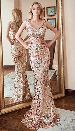 Double V-neck Evening Dress