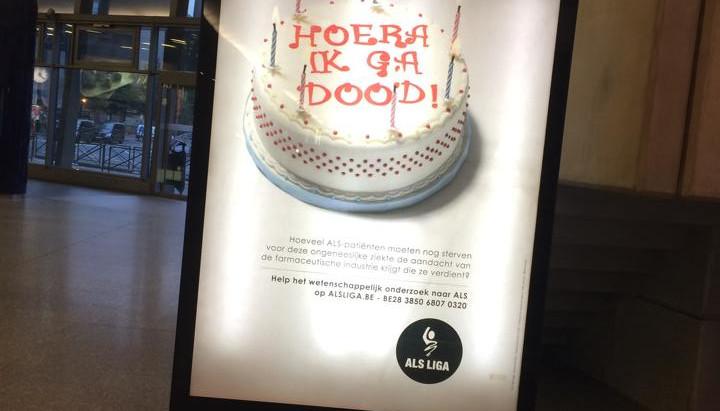 Un gâteau créé spécialement pour une campagne de l'ALS ligua belge.