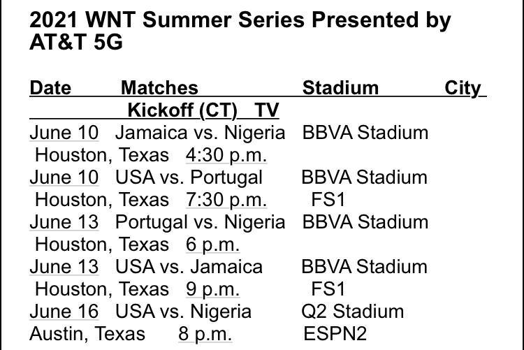 Horarios para la Summer Series, horarios en Central Time