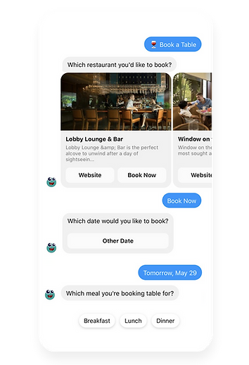 Table booking Salesbot Alex Messenger