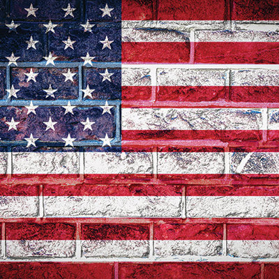 American Flag Brick Background