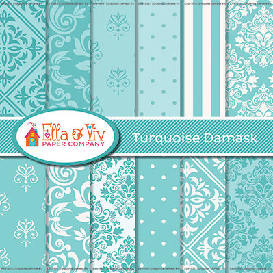 Turquoise Damask Collection