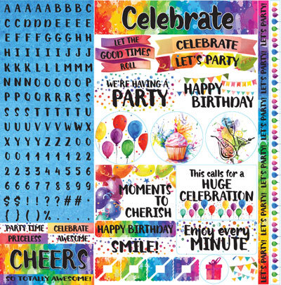 Watercolor Party 12x12 Alphabet Sticker EAV-889