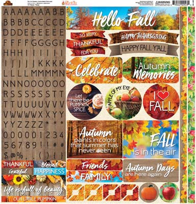 Hello Fall 12x12 Sticker