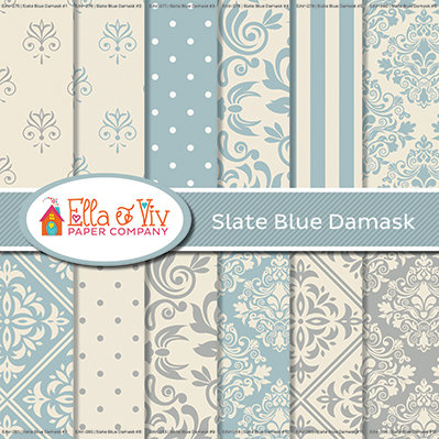 Slate Blue Damask Collection