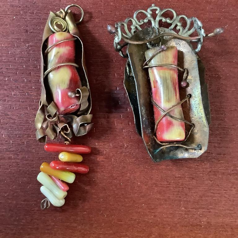 Coral and Copper Pendant