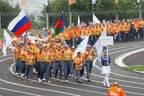 проход команд спортсменов на корпоративной Спартакиаде