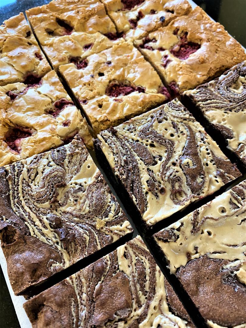 Dark Chocolate & Tahini Brownies/ White Chocolate & Raspberry Blondies