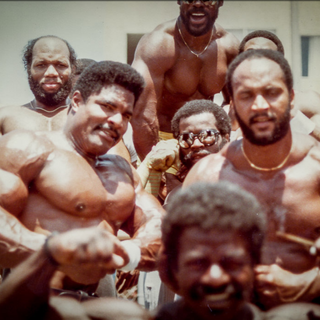 1980's In the Pit with workout buddies at Muscle Beach.