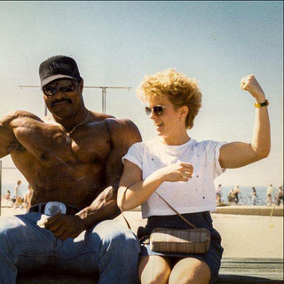 Fan at Muscle Beach in the 1980's.