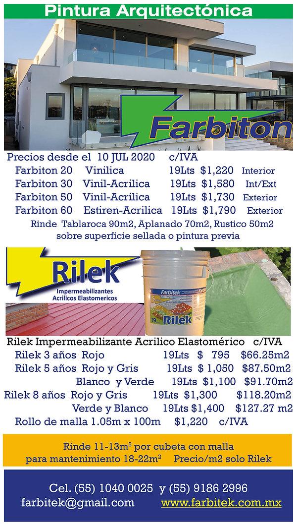 Precios Celular Farbiton Rilek  JUL2020