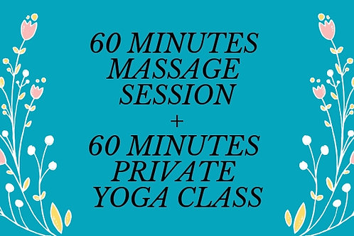 1Private Yoga Session + 1 Massage Session of your choice