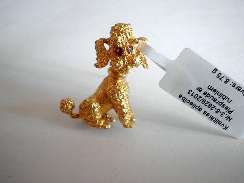 Брошка золотая с рубинами