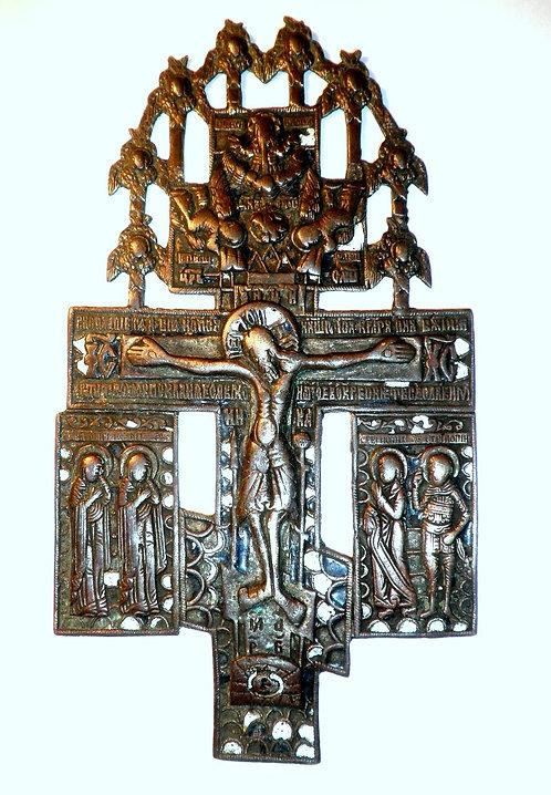 Старинный Киотный Крест с Предстоящими и Херувимам