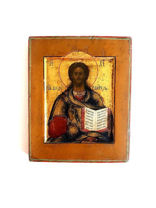 Икона Спас вседержитель 1878 год на сусальном золоте