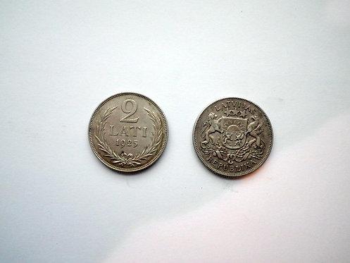 2 лата 1925 года Серебро 900 пр