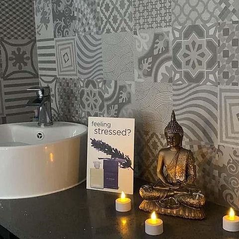 Beautiful patterned tiles in peaceful bathroom