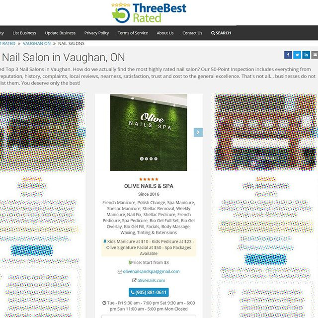 Olive Nails in Top 3 by Three Best Rated!  https://threebestrated.ca/nail-salons-in-vaughan-on