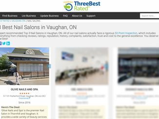 Olive Nails and Spa selected as top 3 Best Nails Salons in Vaughan in 2021... and 2020, 2019, 2018