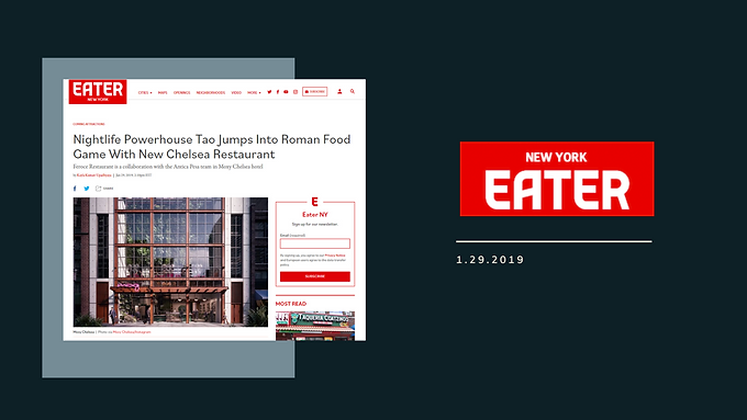 Nightlife Powerhouse Tao Jumps Into Roman Food Game With New Chelsea Restaurant