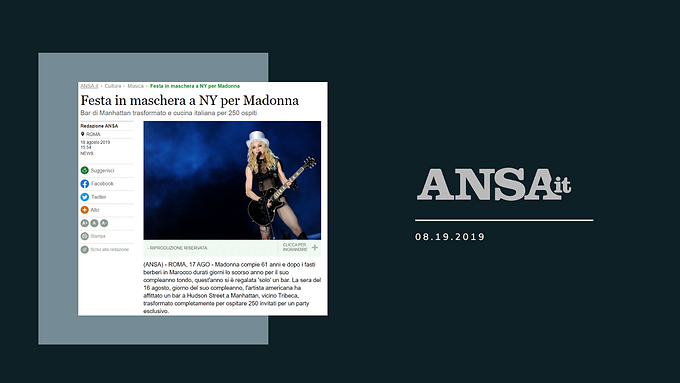 Festa in maschera a NY per Madonna
