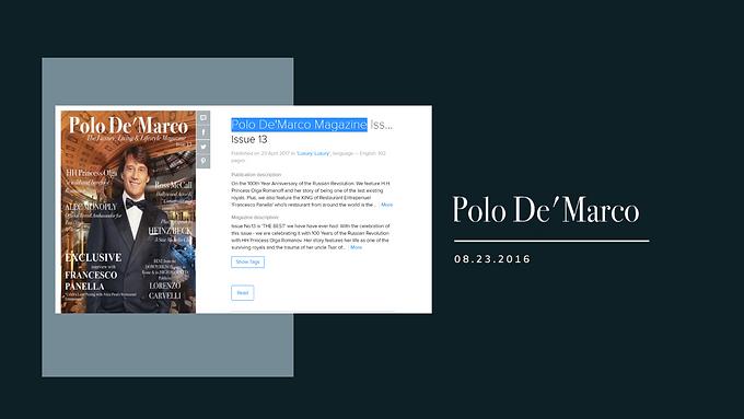 Polo De'Marco Magazine Issue.13
