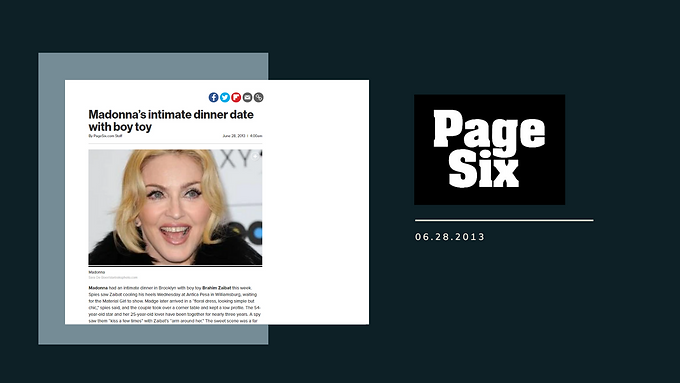 Madonna's intimate dinner date with boy toy