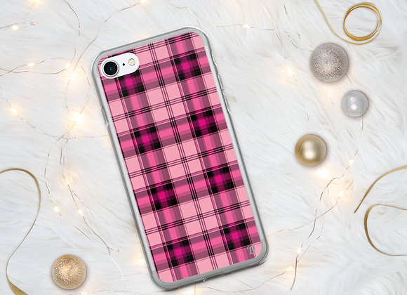 Pink christmas Plaid iPhone Case