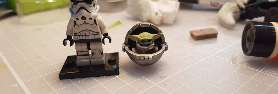 Baby Yoda with Cradle