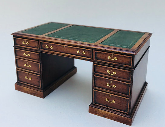 Pedestal Desk with Leather Top
