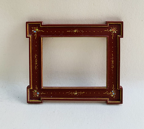 Red Laquered and Gilt painted Picture Frame