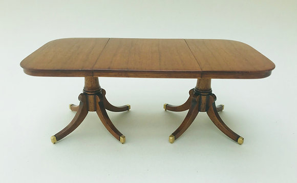 6 Seater Table with pedestals and brass inlay