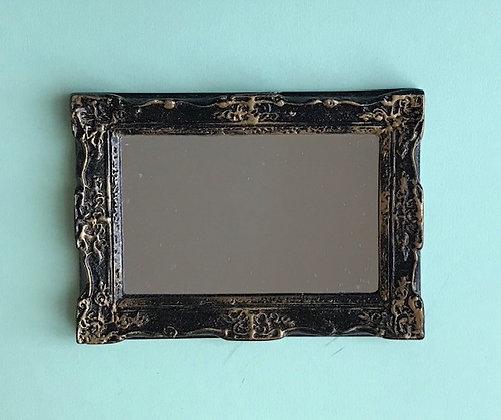 Ornate Rectangular Mirror in Black and Gilt Frame
