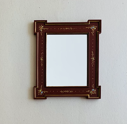 Red Laquered and Gilt painted Mirror