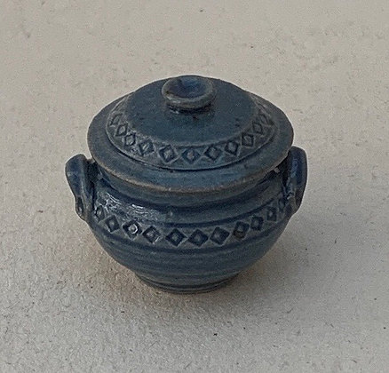 Blue Covered Pot by Elisabeth Causeret