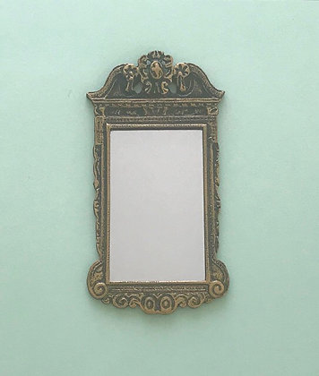 George 11 Mirror in Black and Gilt Frame