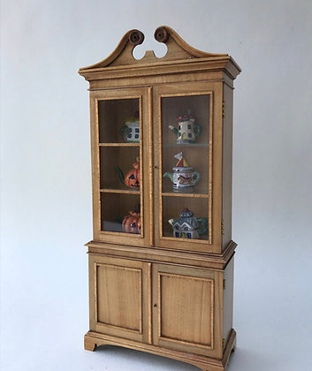 Satinwood Glazed Cabinet with Glass Shelves