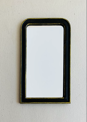 Black and Gilt Curved Top Mirror