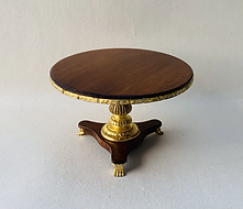 """Round 4"""" Table  with Gold Leaf Pedestal, Apron and Lion Paw Feet"""