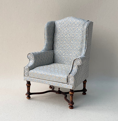 Wing Chair with Turned Legs and Stretcher