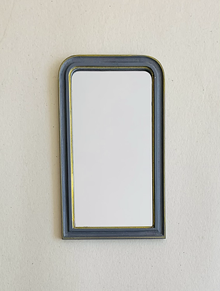 Grey and Gilt Curved Top Mirror