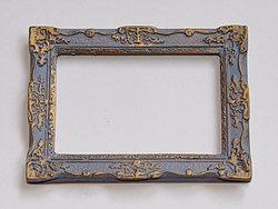 Ornate Rectangular Frame in Grey and Gilt finish