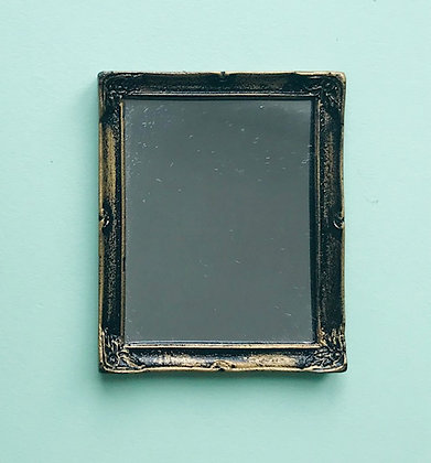 Rectangular Mirror in Black and Gilt