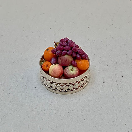 Round Silver Bowl with Fruit by Et Cetera