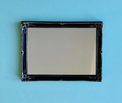 Large Rectangular Mirror in Black and Gilt Frame
