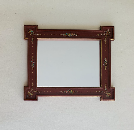 Red Lacquered and Painted  Mirror