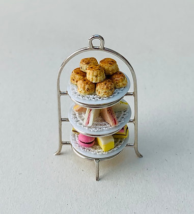 Afternoon Tea on Silver Stand with food by Et Cetera