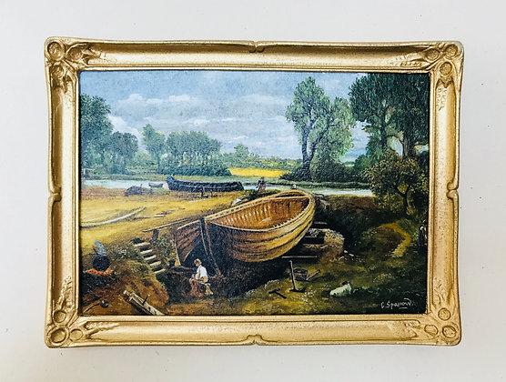 Boat Building Painted by Chris Sparrow