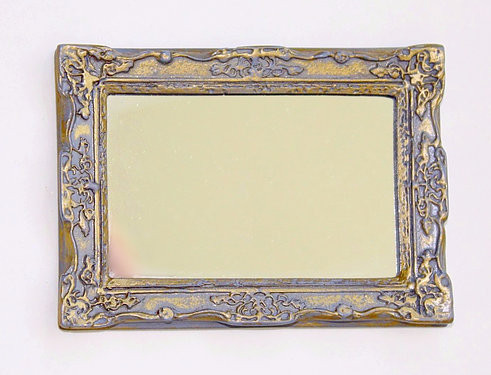 Ornate Rectangular Mirror in Grey and Gilt Frame